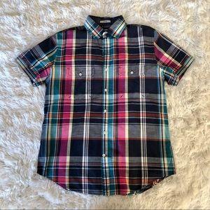 Express medium me s plaid shirt short sleeve